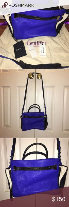 Botkier Leather Leroy Satchel-Cobalt/Black/Cream Comes with tags and dust bag. Beautiful and so soft. It is made of lambskin or goatskin, I can't remember which. Botkier Bags Satchels