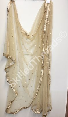 Beige Net Dupatta beautifully done. Eid Dresses, Indian Dresses, Indian Outfits, Pakistani Dresses, Punjabi Dress, Saree Dress, Bridal Dupatta, Dress Sketches, Desi Clothes