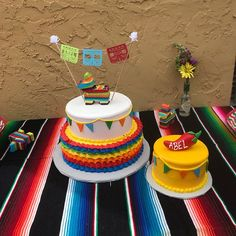 Mexican Themed Cakes, Mexican Fiesta Cake, Mexican Party, Mexican Birthday Parties, 2nd Birthday Party Themes, Baby Boy 1st Birthday, Fiesta Party Decorations, Fiesta Theme Party, Cake Table Birthday