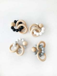 Natural Silicone Baby Teething Rattles