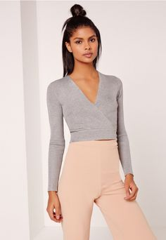 41ef904fa68ca Basic Long Sleeve Wrap Over Ribbed Crop Top Grey - Missguided Wrap Over Top