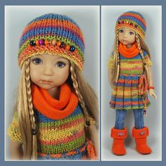 Knitting Dolls Clothes, Ag Doll Clothes, Crochet Doll Clothes, Knitted Dolls, Sasha Doll, Barbie, Doll Shoes, Colourful Outfits, Little Darlings