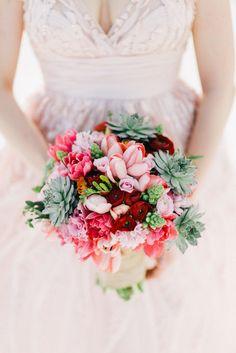 Pink, Red and Succulent Beach Bouquet   Fresa Weddings   Joseph Lin Photography https://www.theknot.com/marketplace/joseph-lin-photography-new-york-ny-350465