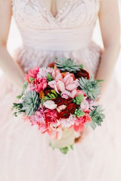Pink, Red and Succulent Beach Bouquet | Fresa Weddings | Joseph Lin Photography https://www.theknot.com/marketplace/joseph-lin-photography-new-york-ny-350465