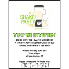 Herbalife Shake Party Invitation!!!!
