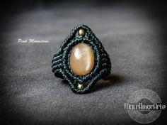 NEW Pink Moonstone Macrame Ring. by MacrAmorArt Macrame Rings, Macrame Jewelry, Macrame Bracelets, Pink Moonstone, Moonstone Ring, Jewelry Crafts, Jewelry Box, Fertility Crystals, Micro Macrame