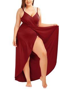 Gamiss 2017 Summer Sexy Plus Size Beach Wrap Cover Dress Long Split Backless V Neck Maxi Casual Beach Dress Vestidos Curvy Women Fashion, Plus Size Fashion, Plus Size Dresses, Plus Size Outfits, Plus Size Beach, Curvy Girl Lingerie, Long Summer Dresses, Dress Long, Plus Size Swimwear