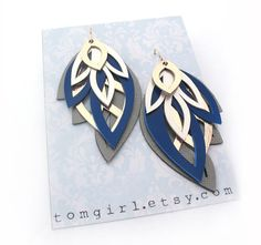 Grey and Blue Metallic Leather Earrings by tomgirl on Etsy, $68.00