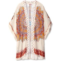 Theodora & Callum Women's Coachella Kimono ($7.32) ❤ liked on Polyvore featuring intimates, robes, kimonos, outerwear, cardigans, sweaters, summer robe, kimono robe, summer kimono and light weight robe