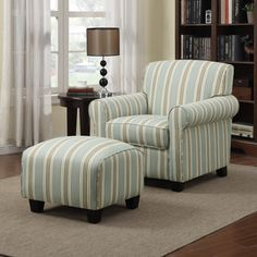 Portfolio Mira Summer Aqua Blue Stripe Arm Chair and Ottoman-want this for family room. 393.99