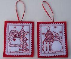 redwork snowmen ornaments