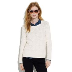 I want it in red! Cablecross sweater #Madewell