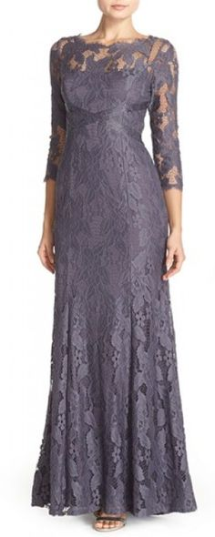 Women's Adrianna Papell Illusion Yoke Lace Gown, Size 0 - Metallic