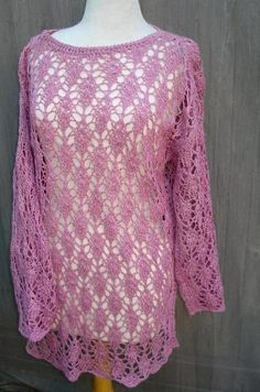 Tunic Lace Sweater Hand Knit  Summer by BevasCloset on Etsy, $98.00