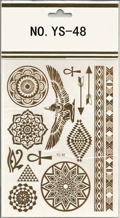 Products Tattoos Metallic Gold Temporary Tattoo Flash Tattoos Henna ...