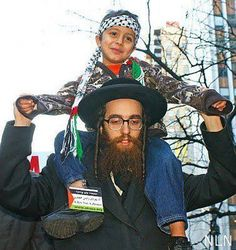 It's not always the same. The differences between: the zionist, the Israeli, the Jew. An Anti Zionism Jew carrying a Palestinian child on his shoulder.