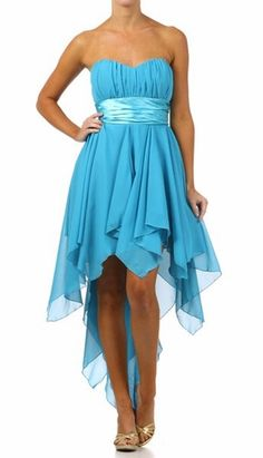 High Low Chiffon Dark Turquoise Bridesmaid Dress Strapless Layered Skirt $117.99