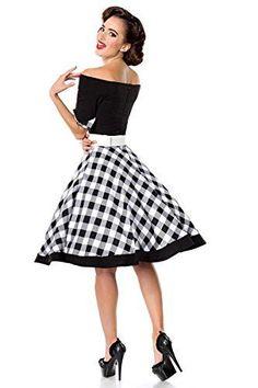 Schwarzes knielanges Swing Kleid im High Waist Schnitt mit Gürtel und Manschetten kariert und schulterfrei Bandeau - Gothic-Steampunk-Rockabilly