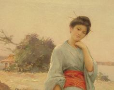 """The Blue Kimono"" by Louis Joseph Raphaeil Collin (1850-1916).  Oil on canvas"