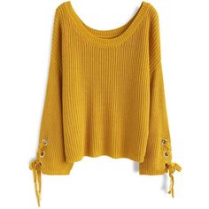 Chicwish Leisure Moment Lace-Up Sleeves Ribbed Knit Sweater in Mustard ($37) ❤ liked on Polyvore featuring tops, sweaters, yellow, boatneck sweater, mustard sweater, yellow sweater, yellow slip and mustard yellow top