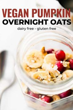 Vegan overnight oats are an easy, nourishing breakfast. Adding pumpkin makes them perfect for fall! Make this pumpkin oatmeal recipe to celebrate the season. They're naturally gluten free, and dairy free as well. #vegan #dairyfree #glutenfree Pumpkin Overnight Oats, Vegan Overnight Oats, Pumpkin Oatmeal, Vegan Pumpkin, Pumpkin Puree, Pumpkin Spice, Fall Breakfast, Gluten Free Breakfasts, Oatmeal Recipes