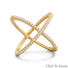 #SIGNITY 14K Yellow Gold Plated 925 Sterling Silver CZ Statement Ring Sizes 5-10 #Unbranded #XStyle