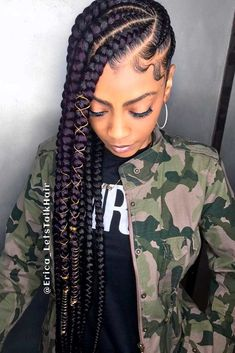 Bold And Thick Cornrows ★ For natural-haired goddesses, cornrows are like a little black dress for every stylish lady. All styles touched by cornrow braids turn to trends: see how to rock one! Sophisticated half updos, simple yet gorgeous updo hairstyles, Lemonade Braids Hairstyles, African Braids Hairstyles, Protective Hairstyles, Braided Hairstyles, Braided Ponytail, Black Hairstyles, Fashion Hairstyles, Pretty Hairstyles, Amazing Hairstyles