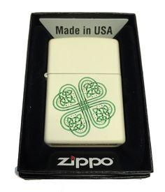 Zippo Custom Lighter - Celtic Shamrock Many Blessings - Regular Cream Matte ZP - AH - Zippo Usa, Custom License Plate Frames, Celtic Shamrock, Custom Lighters, Ring Bearer Gifts, Pipes And Cigars, Zippo Lighter, Custom Engraving, Personalized Gifts