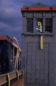 Neon Rapunzel on the Fremont bridge Seattle, WA