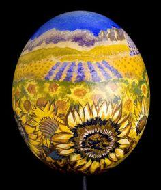 Custom Made Sunflower Fields Hand Painted Ostrich Egg Art Collectible Easter Equinox Gift