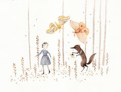 Girl, wolf, moths    lovely illustration by Portland artist Julianna Swaney