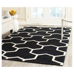 Delmont Texture Wool Rug - Black / Ivory (4' X 6') - Safavieh, Black/Ivory