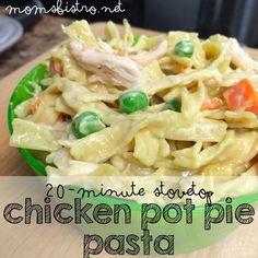 20 minute stove top chicken pot pie pasta kid friendly recipe weeknight dinner moms bistro
