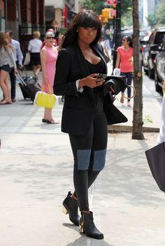Jennifer Hudson's New York City BDG Black High-Rise Knee Patch Jeans