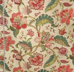 Indienne fabric Jacobean floral red pink teal from Brick House Fabric: Novelty Fabric