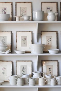 white ironstone and framed botanicals - styled shelves vignette Framed Botanical Prints, Botanical Art, Framed Prints, Botanical Interior, Art Prints, Cottage Dining Rooms, Shabby Chic Vintage, Kitchen Paint Colors, White Dishes