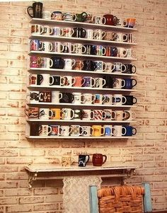 coffee nook + displaying all your mugs! Or even add a coffee bar underneath! Coffee Nook, Coffee Cups, Mug Display, Display Wall, Sweet Home, Home And Deco, Design Case, My Dream Home, Home Kitchens