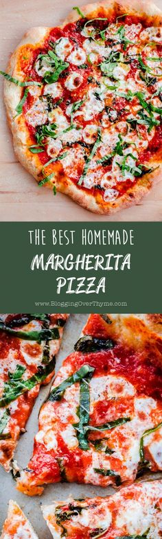 The BEST Homemade Margherita Pizza. Made in a standard kitchen oven!