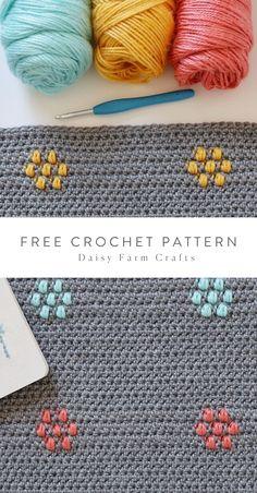 Free Pattern - Crochet Flower Puffs Blanket Free Pattern - Crochet Flower Puffs Blanket Learn the fa Crochet Daisy, Manta Crochet, Crochet Home, Crochet Flowers, Free Crochet, Knit Crochet, Crochet Puff Flower, Crochet Throws, Crochet Leaves