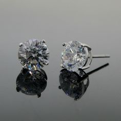 cubic zirconia round stud earrings 925 sterling silver bobin boutique new cz