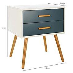 LOMOS® No.5 Beistellschrank aus Holz mit 2 Schubladen im modernen Retro-Design