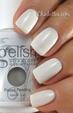 Gelish Sheek White Color Swatch..maybe with a slight shimmer or glitter on top?