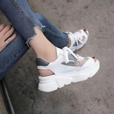 Image of 2018 Summer Thick Sole Women Sandals Roma High Heel Ulzzang Platform Sandals Woman Mesh Leather Breathable Female Beach Sandals Lacoste Shoes Women, Ulzzang, Sneakers Fashion, Fashion Shoes, Vans Sneakers, Minimalist Shoes, Clearance Shoes, Women's Shoes Sandals, Women Sandals