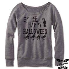 Happy Halloween Off The Shoulder Halloween Sweatshirt Costume. Wide Neck