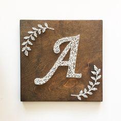 String Art Letters, String Wall Art, Nail String Art, Monogram Signs, Monogram Wreath, Letter Monogram, Initial Art, String Art Templates, Thread Art