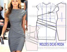Vestido drapeado Cinza - Moldes Moda por Medida