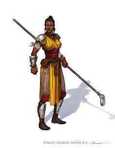 Badass female fighter with staff weapon. Africa American, art by John-Paul Balmet