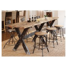 Rustic-industrial dining table, I think I can make this with a few saw horses and 2x4's!