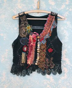 Lifelong Hippie,  romantic embroidered vintage leather vest, wearable art textile collage with antique laces