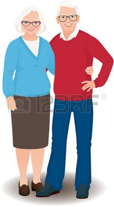 Elderly man and woman are embracing a full length photo
